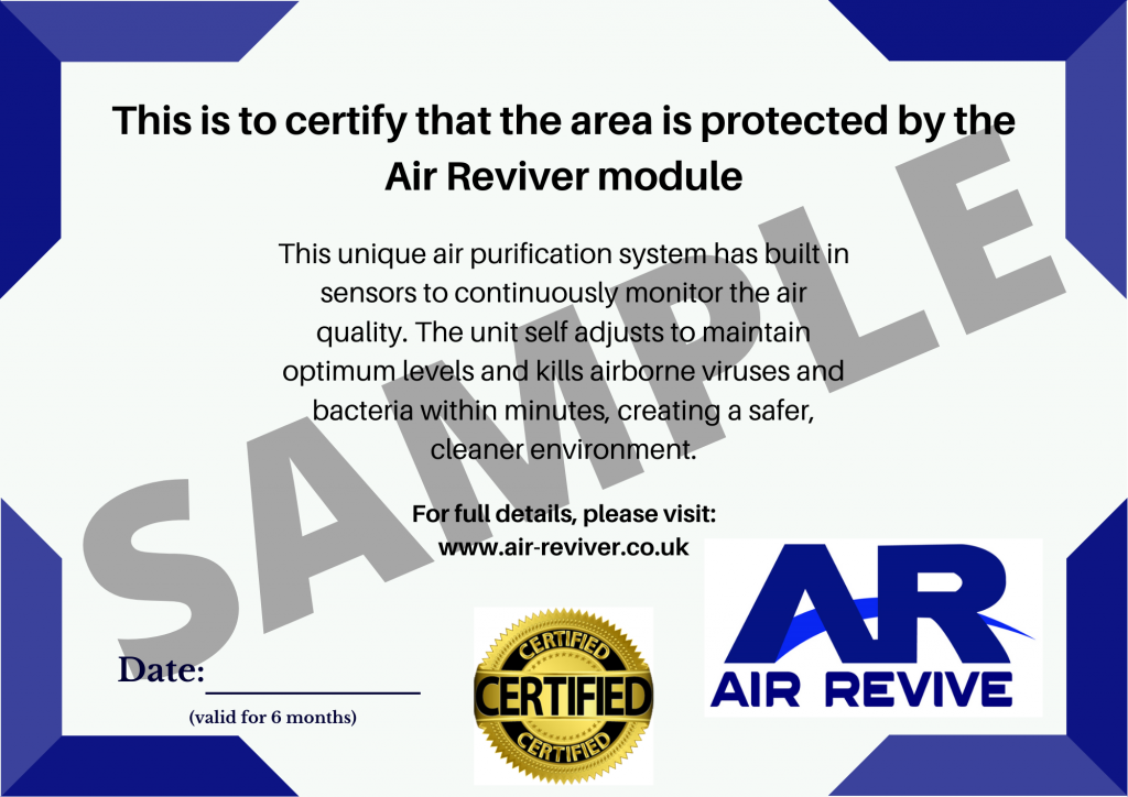 Air Reviver certificate sample